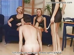 Girls get rough kicking and whipping him tubes