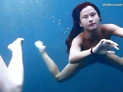 Naked ladies swim and look sexy underwater tubes