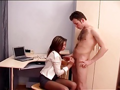 Secretary office sex in sheer crotchless hosiery tubes