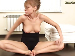 Girl in black leotard is wicked hot and flexible tubes