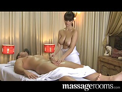 Massage Rooms Natural big tits masseuse offers special time tubes