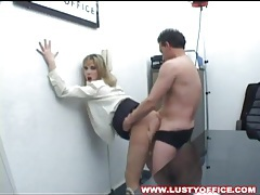Cocksucking secretary lets him fuck her pussy tubes