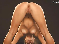 Dancer in the photo studio bends her hot body tubes