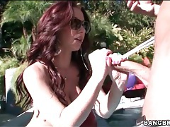Long dark red hair is hot on cocksucker tubes