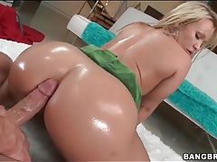 Ass coated in oil and looking hot in fuck video tube