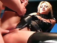 Uniformed babe sex in gloves and latex lingerie tubes