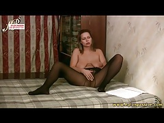 Busty lass in sheer black hose masturbates tubes