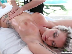 Beautiful blonde with hot body gets a sexy massage tubes