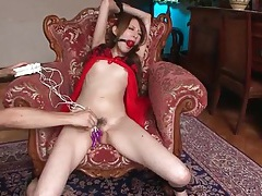 Gagged and bound young lady in lingerie tubes