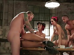 Naughty tattooed bitches fucked at card game tubes