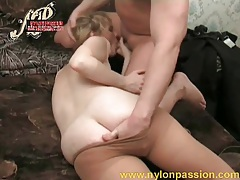 He fingers pantyhose girl as she sucks tubes