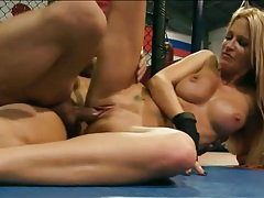 Sporty Jessica Drake fucked in MMA ring tubes
