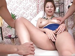 Big boobs girl blows him in the massage room tubes