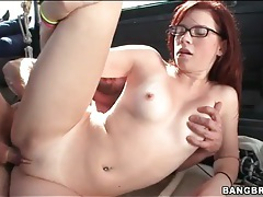 Sexy redhead nailed hardcore in his van tubes