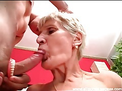 Granny takes out dentures to suck on cock tubes