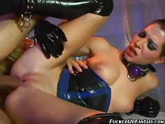 Latex fetish sex with hot anal action tubes