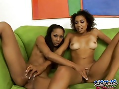 Sexy ebony girls with toys get it on tubes
