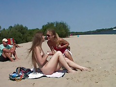 Totally naked teenager on spy beach tubes
