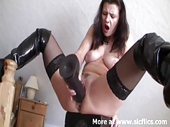 Monster black dildo smashing my loose cunt till i cum tubes