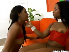 Black chicks share a double dildo and get it on tubes