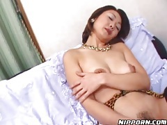 Sexy fishnets on solo masturbating Japanese chick tubes