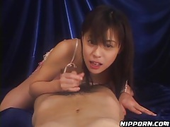 POV blowjob with cute Japanese girl in lace lingerie tubes