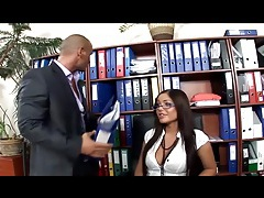 Hot secretary fucked in thigh highs and high heels tubes