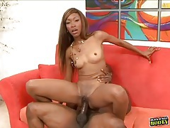 Wet black cunt plowed by ebony shaft tubes