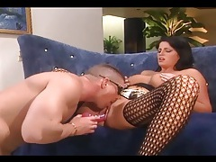Brunette with big tits fucked in nylons and garter tubes