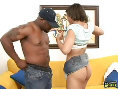 Big ass black girl gets on top and rides BBC tubes