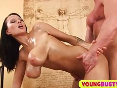 Sperm on her huge oiled natural milkers tubes