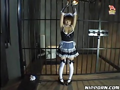 French maid put in bondage and covered in food tubes