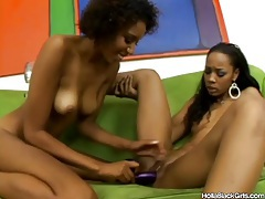Hot skinny black chicks take toys in pussies tubes