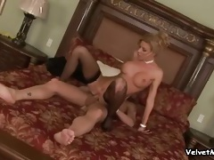 Gorgeous glam blonde in stockings takes cock tubes