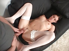 Thick cock moves from her pussy to her asshole tubes