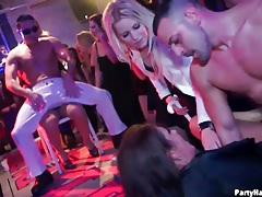 Male strippers sucked by hotties at the party tubes