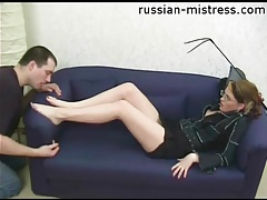 Mistress demands he suck her sexy toes tubes
