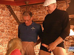 Two foreign old dicks for a horny blonde tubes