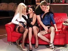 Three sluts in skirts and stockings suck his dick tubes