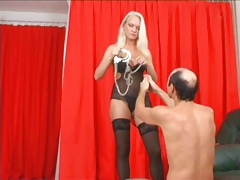 He submits and gets a spanking from her tubes