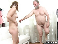 Nasty pretty face brunette hoe getting fucked hard and deep in the pussy by older guy tubes