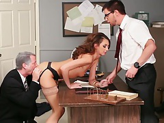 Katie Jordin gets stabbed by two cocks! tubes