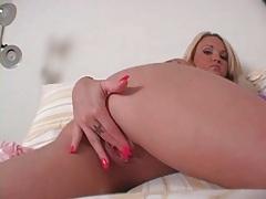 Girl with red fingernails masturbates sensually tubes