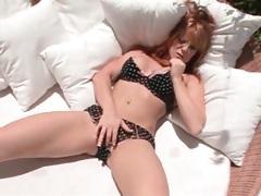 Redhead models big tits and panties outdoors tubes