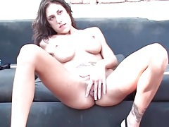 Slim chick with big fake tits sucks two dicks tubes