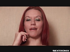 Redhead talks dirty and sucks on her fingers tubes