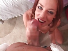 Gorgeous skinny redhead does deepthroat BJ tubes