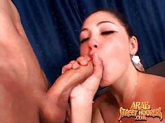 Cute Arab is good at deepthroating cock tubes