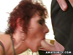 Naughty amateur wife plays with cum in mouth tubes