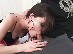Sasha Grey sucks dick in sexy red lipstick tubes